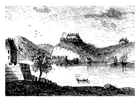 West point is at the center of the Hudson river located in orange county , which was fortified during the revolutionary warvintage line drawing.
