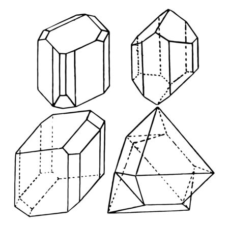 An image that shows different diagrams of triclinic shapes, vintage line drawing or engraving illustration.