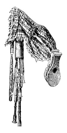 Highland Bagpipe manfestly vestige of ancient tonalities now abandoned, vintage line drawing or engraving illustration.