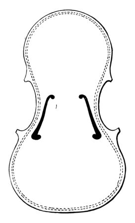 Violin Body is constructed with its sounding box formed with a concave bottom surface to fit against the shoulder of the violinist, vintage line drawing or engraving illustration.