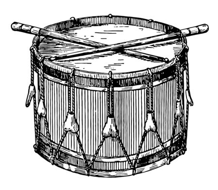 Snare Drum having two heads the upper one only being played upon by two sticks of wood, vintage line drawing or engraving illustration.