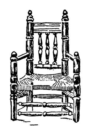 Chair relic by the pilgrim vintage line drawing. Ilustração