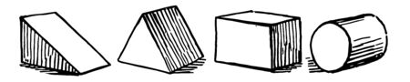 The image shows different types of oblique prisms: right triangular prism, isosceles triangular prism, rectangular prism, and cylinder, vintage line drawing or engraving illustration. Illusztráció