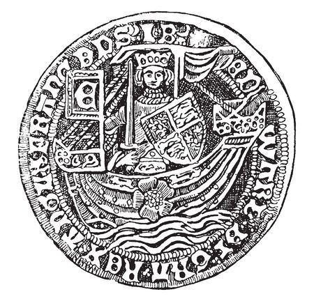 Rose Royal is a very rare English gold coin in the righ of King James, vintage line drawing or engraving illustration.