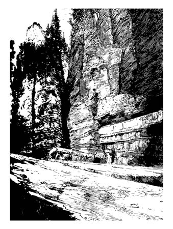 It is large shelf of rock present in the Canadian shore near Niageria falls where you can find water rushing over horseshoe falls  vintage line drawing.