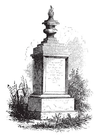 Monument of General Nathaniel Woodhull,vintage line drawing or engraving illustration Ilustração