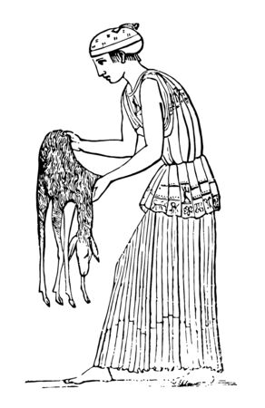 A Greek holding a nebris, a fawn's skin, vintage line drawing or engraving illustration. Stock fotó - 132941376