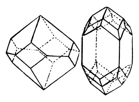 Tetrahedron sample combination, which makes four fold axes and the lower and upper side are indicated, vintage line drawing or engraving illustration.  イラスト・ベクター素材