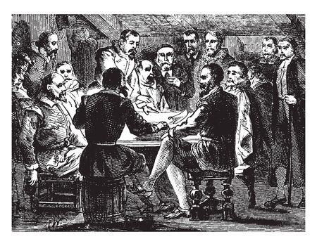Signing of the Compact between saints and the strangers inside the Mayflower,vintage line drawing or engraving illustration. Иллюстрация