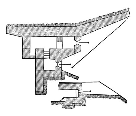 This illustration represents Traditore Battery Bourges Casemate, vintage line drawing or engraving illustration. Ilustrace