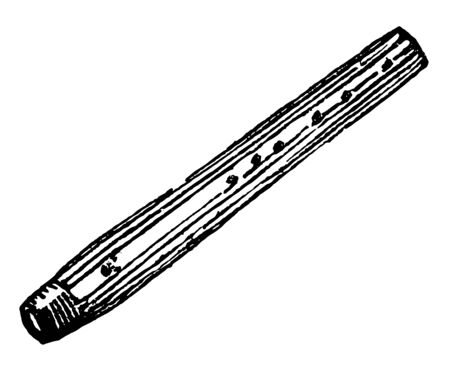 Fife is a small pipe used as a wind instrument, vintage line drawing or engraving illustration. Standard-Bild - 132907135