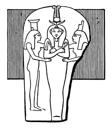 Egyptian Pharaoh Ramesses III was the last monarch of the New Kingdom of Egypt, vintage line drawing or engraving illustration.