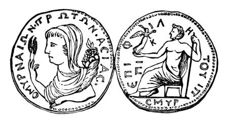 This image shows the Izmir Medal. One side shows the goddess and the other side shows Jupiter sitting on the bench, vintage line drawing or engraving illustration. Ilustrace
