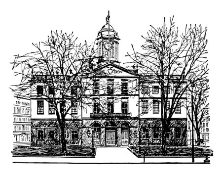 Old state house in Hartford designed by American architect Charles Bulfinch in 1796 vintage line drawing.