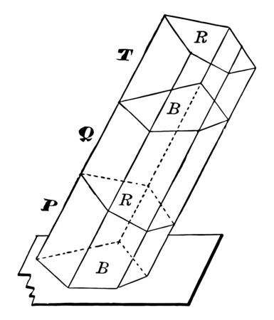 The image shows an oblique prism constructed by the combination of three truncated prisms. It is a prism with bases that are not aligned one directly on the other, vintage line drawing or engraving illustration.