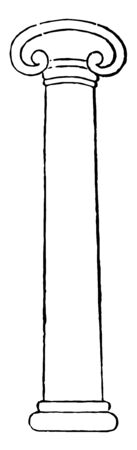 This image shows the pillar of a table. The top and bottom sides of the pillar consist of the same edge design, vintage line drawing or engraving illustration.