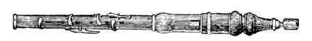 Flageolet which the tone is produced by a stream of air striking against a sharp edge, vintage line drawing or engraving illustration.