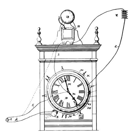Electric Energy Clock is a clock that is powered by electricity instead of powered manually or by other sources of energy, vintage line drawing or engraving illustration. Illustration