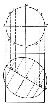 An image that shows the circle and the ellipse. This diagram shows the section of a cylinder that shows an ellipse, vintage line drawing or engraving illustration. Çizim