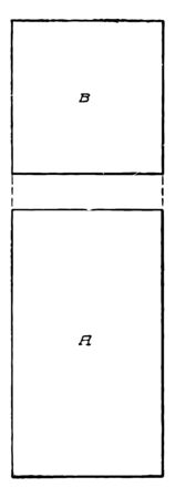 The image shows the projection of a square bar, vintage line drawing or engraving illustration.