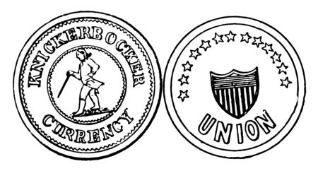 A picture showing a War Token, Civil War Period. The center of coin There are a There are a shield and