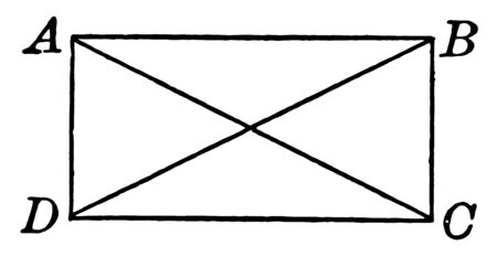 An image showing ABCD Rectangle. Rectangle have opposite sides are congruent. Rectangle shown with two intersecting diagonals, vintage line drawing or engraving illustration.