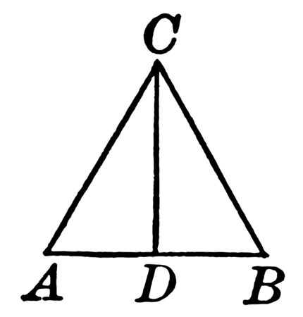 This is an image of the isosceles triangle. Image showing the isosceles triangle bisects the base and is perpendicular to the base, vintage line drawing or engraving illustration. Çizim