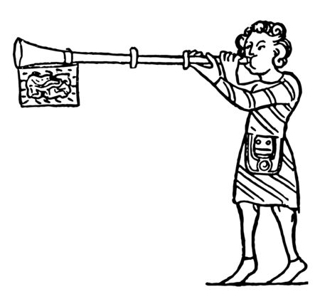 Busine is a type of straight Medieval trumpet usually made of metal, vintage line drawing or engraving illustration.
