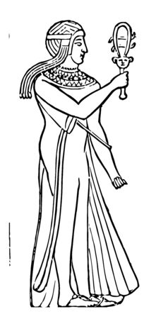 Egyptian Priestess playing a sistrum, vintage line drawing or engraving illustration.