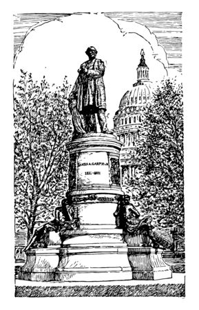 James A. Garfield Memorial built in memory of 20th president of United states vintage line drawing. Çizim