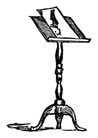 Music stand is a wooden or metal frame for holding the music convenient for musicians, vintage line drawing or engraving illustration. Ilustracja