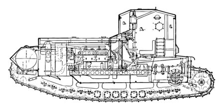 Medium Mark A Tank Plan shows a detailed schematic to operate the tank, vintage line drawing or engraving illustration.