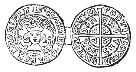 Coin of Richard III where the Half Angel gold coin was first introduced in 1472, vintage line drawing or engraving illustration. Ilustração