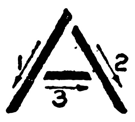 This is a picture of stroke technique for writing letter A in commercial gothic, vintage line drawing or engraving illustration. Ilustração