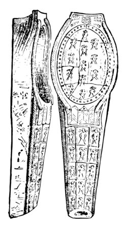 In the image there are some beautiful designs in the coffin, in them there is an impression of the size of the men, vintage line drawing or engraving illustration.