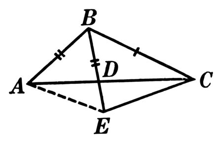 An image showing labeled segments in a triangle. BD is the median of the triangle, segment AB is equal to BD, vintage line drawing or engraving illustration.