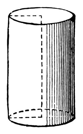 A cylindrical revolution created by rotation around a rectangle on each side of the revolution, vintage line drawing or engraving illustration.
