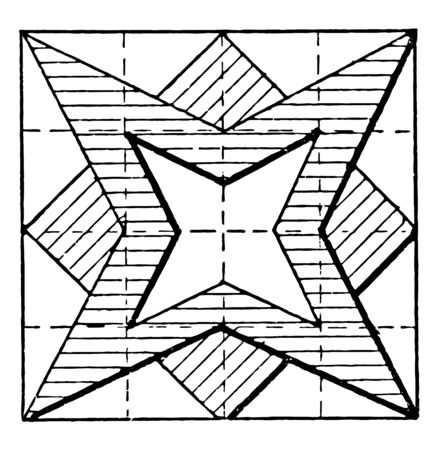 In the image, a certain figure of many stars was created. Shape fits into a pattern, vintage line drawing or engraving illustration.