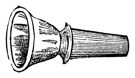 Mouth piece of a musical instrument to which the mouth is applied, vintage line drawing or engraving illustration.