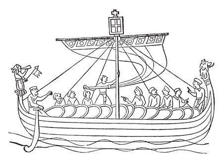 Norman Ship from the Bayeux Tapestry, vintage line drawing or engraving illustration.  イラスト・ベクター素材