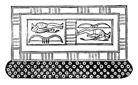 An illustration of the tomb of Ramses III, vintage line drawing or engraving illustration.