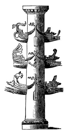 An image of the column that was used as a symbol of victory in antiquity, vintage line drawing or engraving illustration.