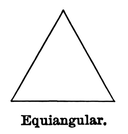 This is an image of the equiangular triangle. The three sides of this equiangular triangle are the same, vintage line drawing or engraving illustration. Vector Illustratie