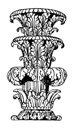 A candle holder for large candles, vintage line drawing or engraving illustration.