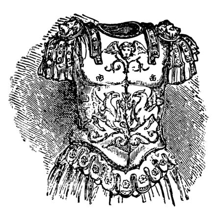 Breastplate is a device worn over the torso either to protect the torso from injury, vintage line drawing or engraving illustration.