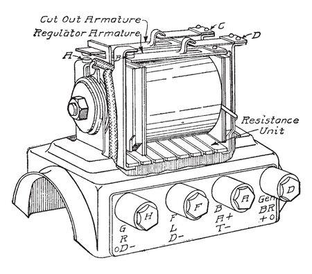Regulator is heinze Springfield current regulator and battery cut out, vintage line drawing or engraving illustration.