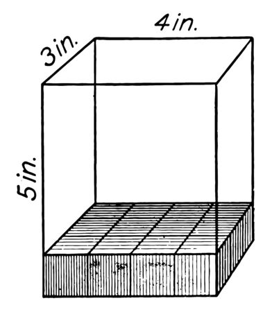 The image shows a rectangular solid of 5 by 3 by 4 inches with each cube in the solid representing one cubic inch. This can be used to explain the volume, vintage line drawing or engraving illustration.