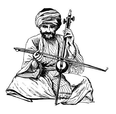 Rebec is a bowed stringed instrument, vintage line drawing or engraving illustration.