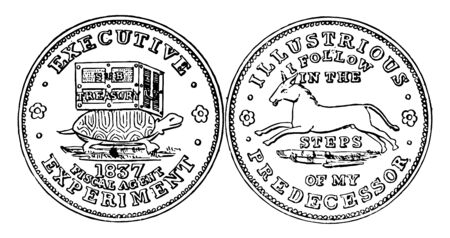 This is the hard times token. Obverse has a tortoise carrying a chest marked SUB TREASURY. Reverse shows the left-facing image of a mule, vintage line drawing or engraving illustration. Vektoros illusztráció