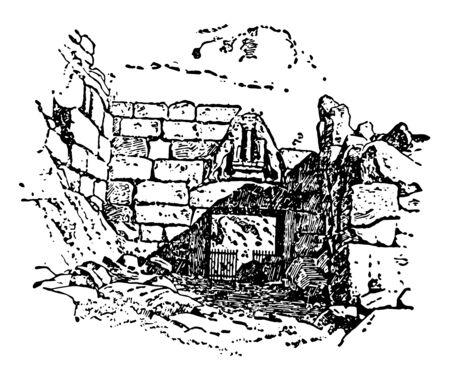 The gate of Bronze age citadel called Lions Gate, vintage line drawing or engraving illustration. Ilustração